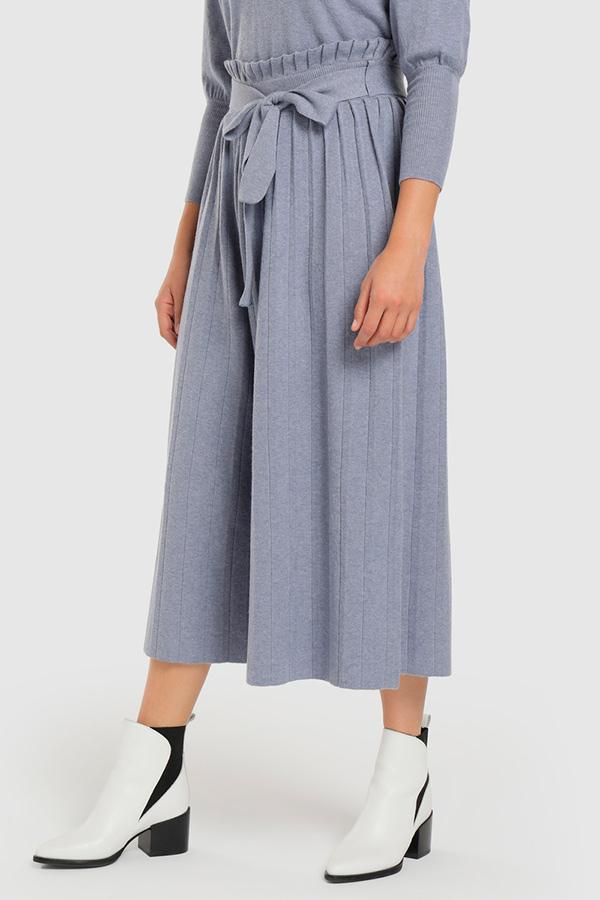 Pantalones de punto celeste