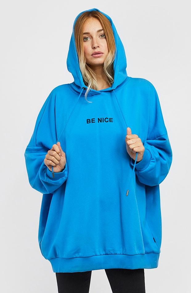 sudadera azul con capucha prendas oversize