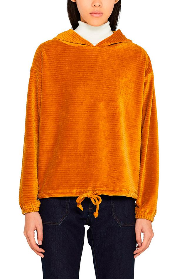 sudadera color mostaza con capucha de esprit prendas de pana