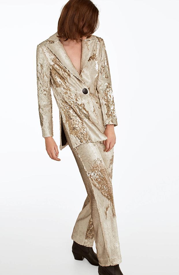 Trajes de chaqueta de invitada Uterqüe dorado