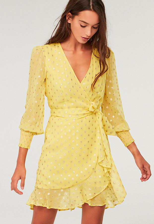 Vestido amarillo con lúrex de Sfera