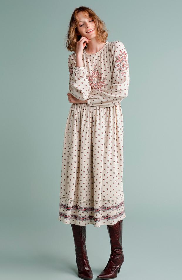 vestido fluido estampado flores tintoretto estilo setentero