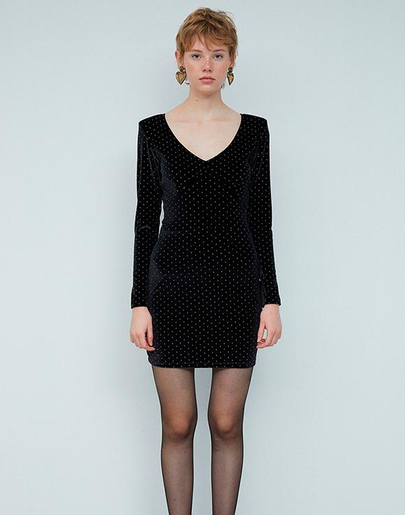 vestido negro ajustado con strass sfera prendas de terciopelo