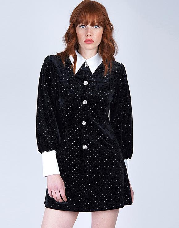 vestido negro cuello camisero poete prendas de terciopelo