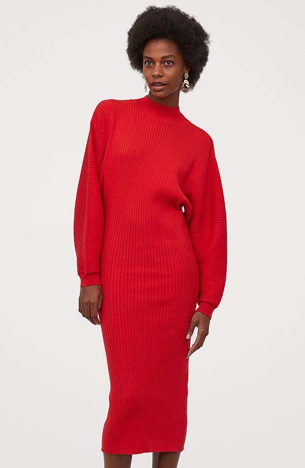 Vestidos de punto H&M rojo