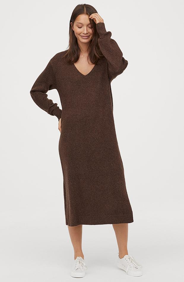 Vestidos de punto H&M marrón