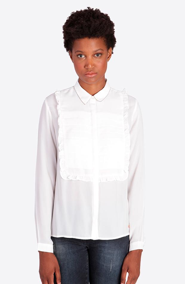 camisa blanca detalle volantes kaporal looks comida de navidad