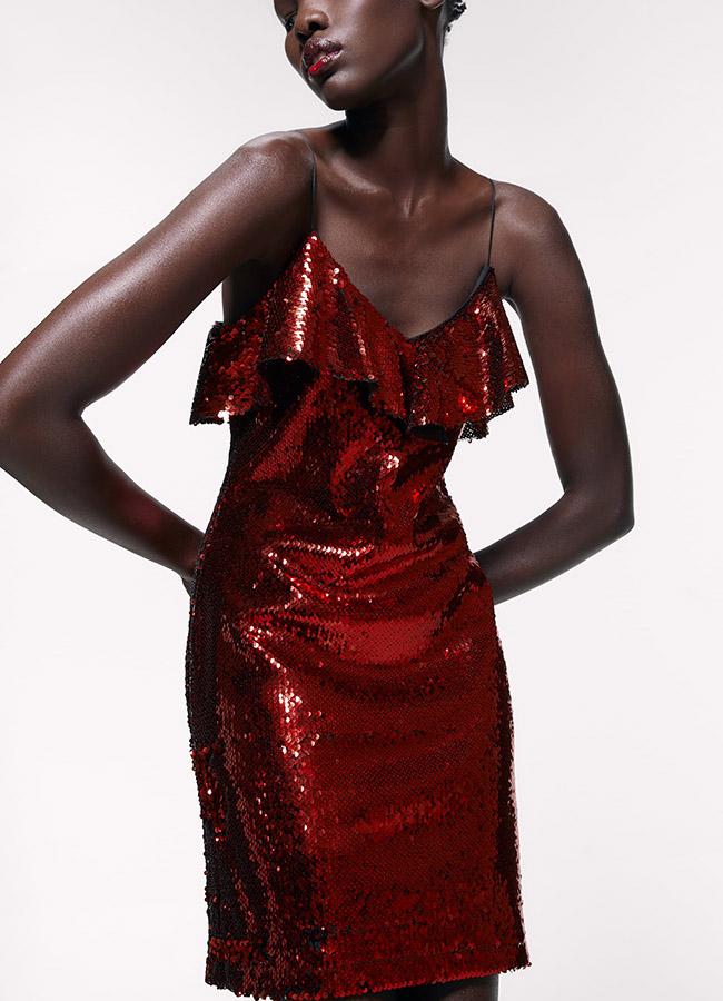 Vestido rojo de Zara de lentejuelas