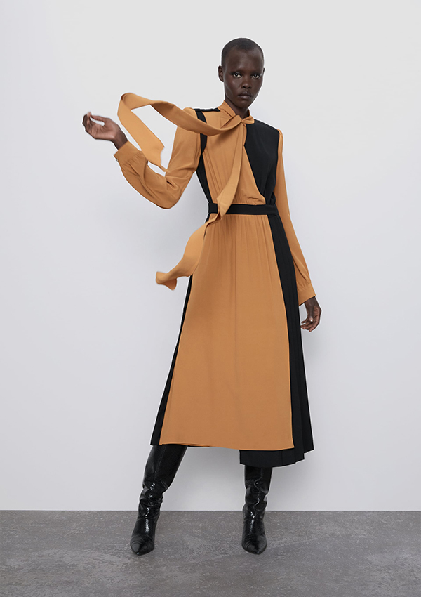 Vestido largo de Zara bicolor con lazada