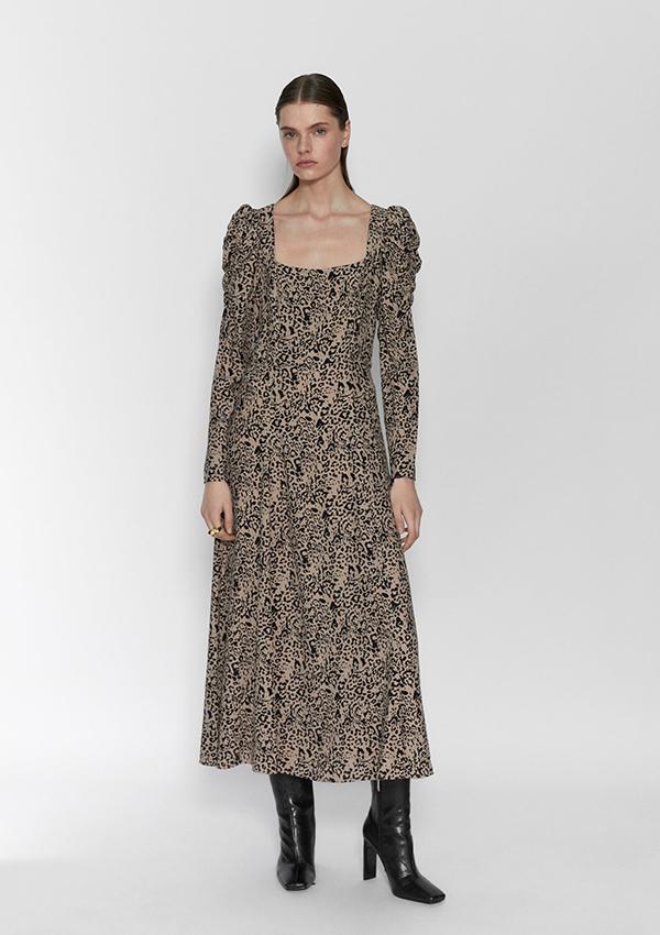 Vestido largo de Zara con estampado animal