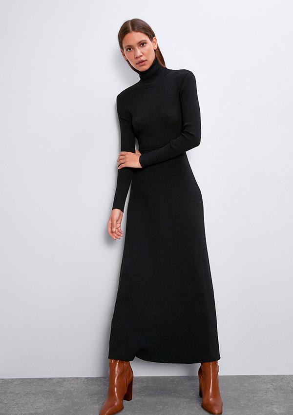 Vestido largo de Zara de canalé gris