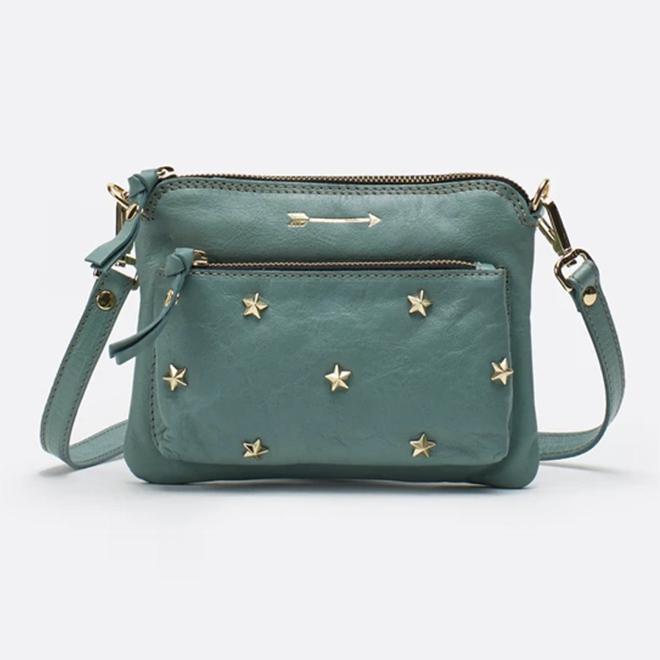 Bolso bandolera verde con estrellas de Mércules