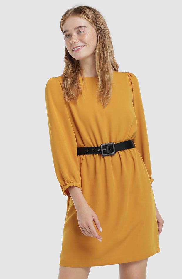 vestido mini amarillo de manga larga Fórmula Joven