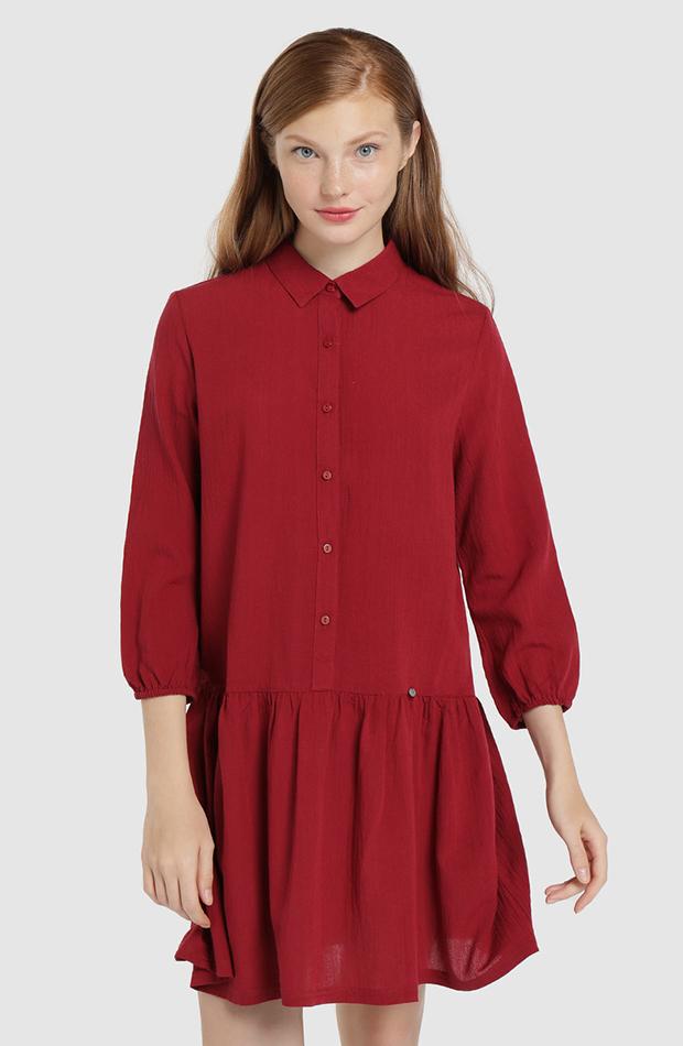 vestido mini con cuello camisero color rojo Green Coast