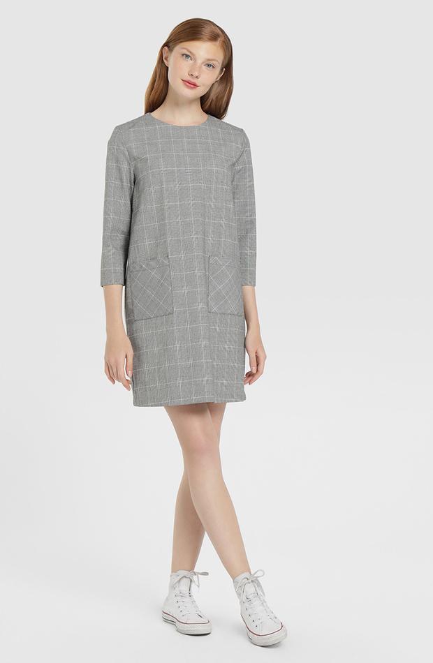 vestido corto con cuadros y manga francesa Easy Wear