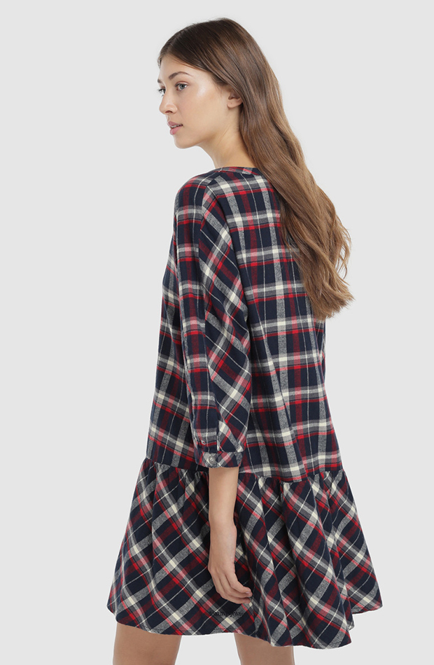 vestido mini de franela de cuadros Tommy Jeans