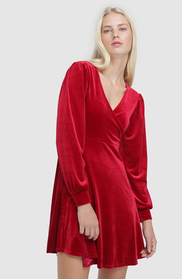 vestido mini rojo de terciopelo Easy Wear