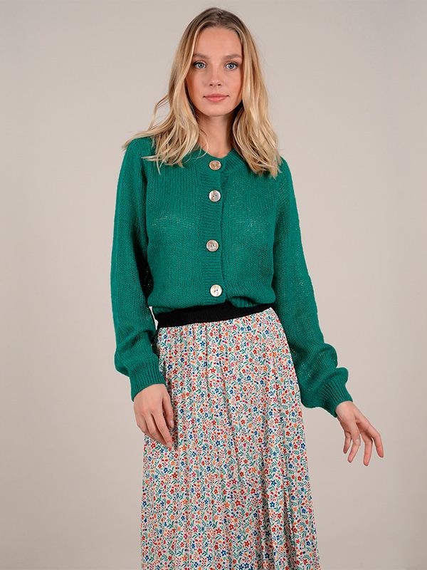 Cárdigan de botones verde de Molly Bracken