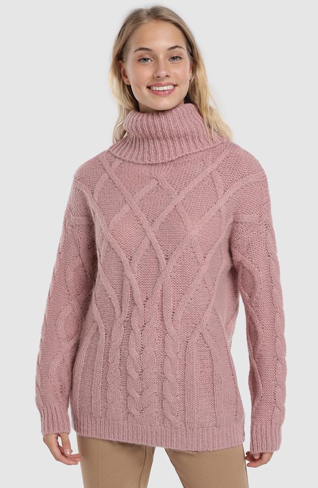 jerseis de punto rosa con rombos y cuello vuelto