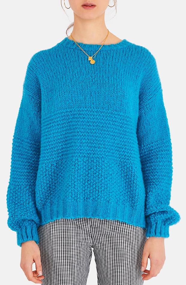 jerseis de punto azul cuello redondo