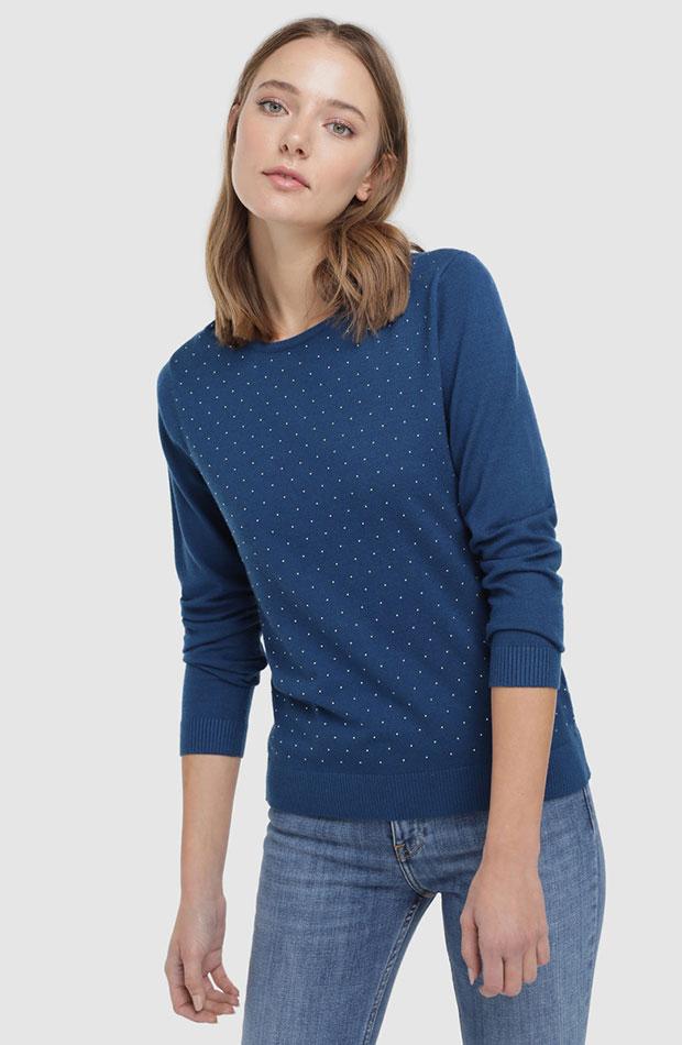 azul clasico jersey tachas