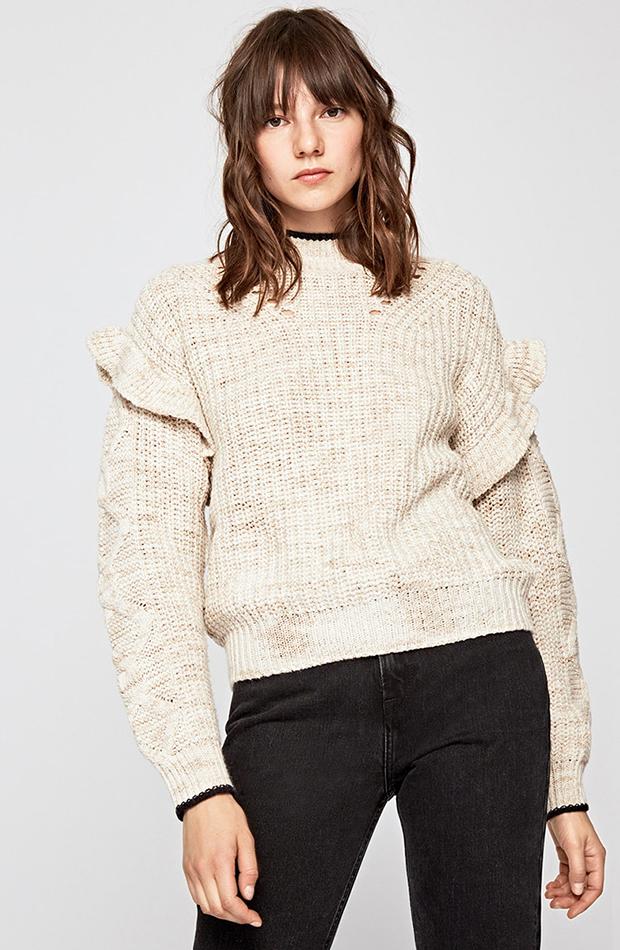 jerseis de punto color crudo con volantes
