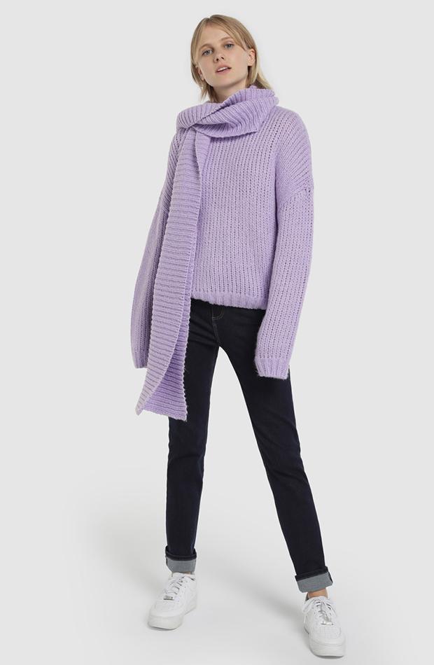 jerseis de punto lila con bufanda