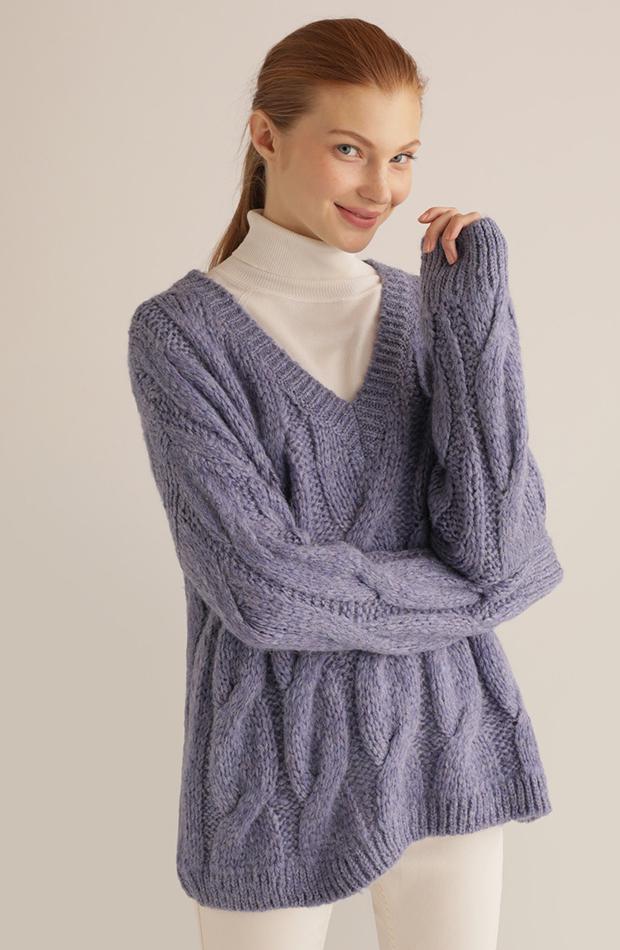 jerseis de punto cuello pico lila
