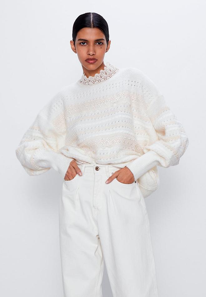 Jersey de punto combinado de Zara