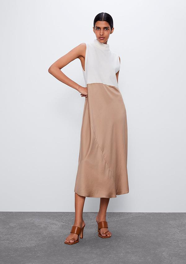 Vestido bicolor de Zara