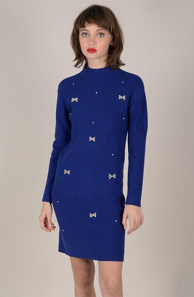 azul clasico vestido punto