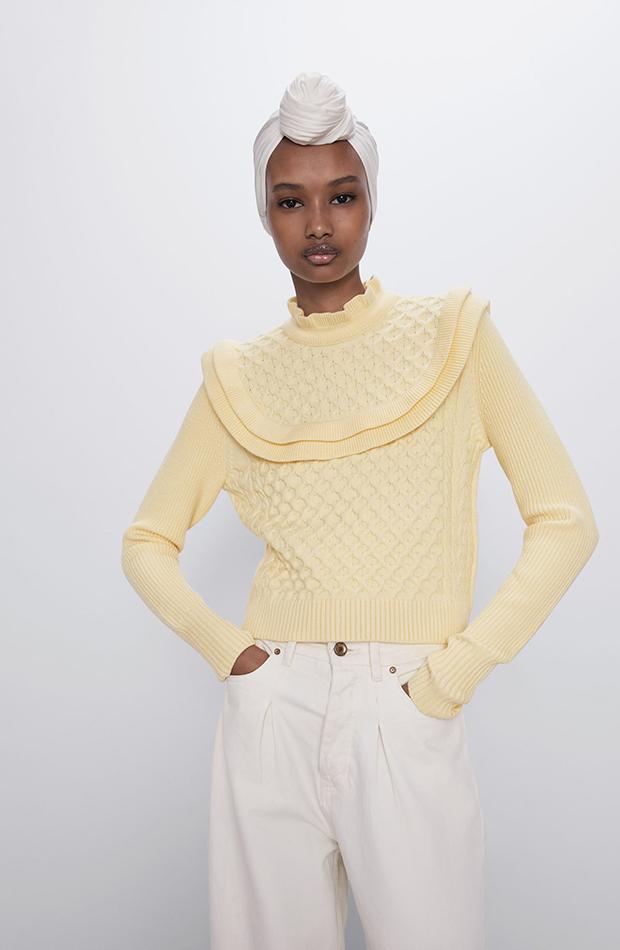 jerseis cortos amarillo pastel volantes Zara