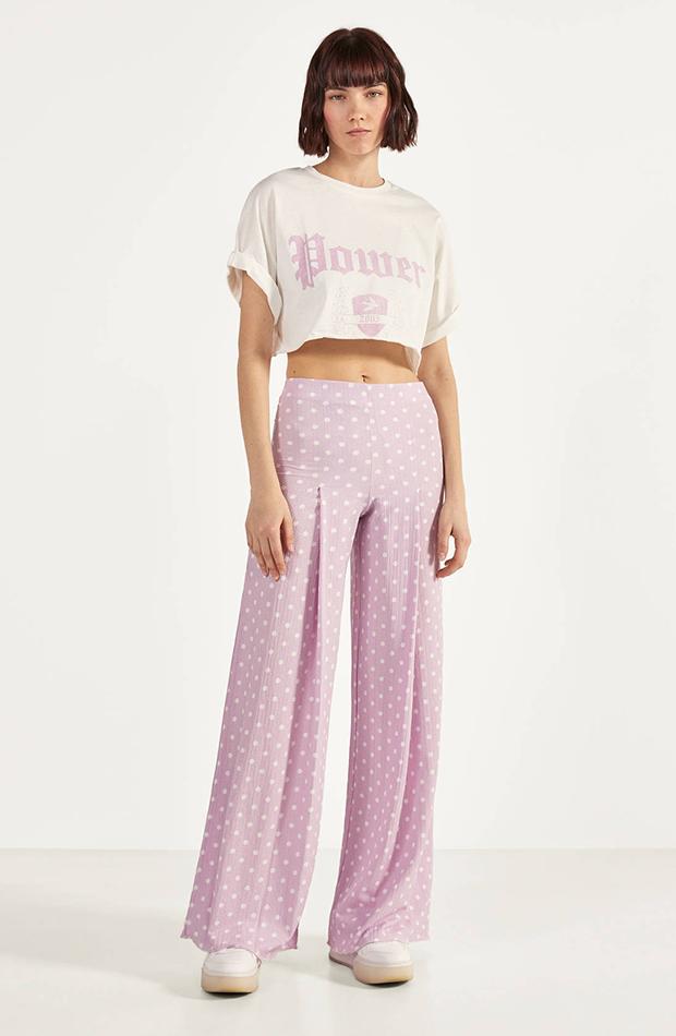 pantalones estampados lila con lunares bershka