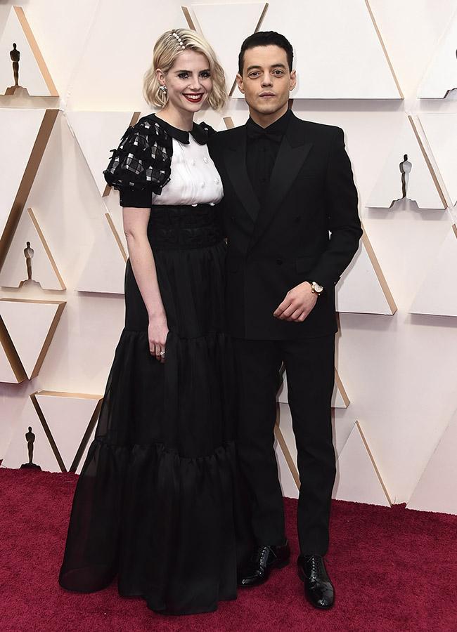 Lucy Boynton y Rami Malek en los Premios Oscar 2020