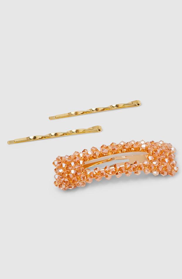 accesorios para el pelo invitada set de horquillas siena en dorado y clip en strass dorado