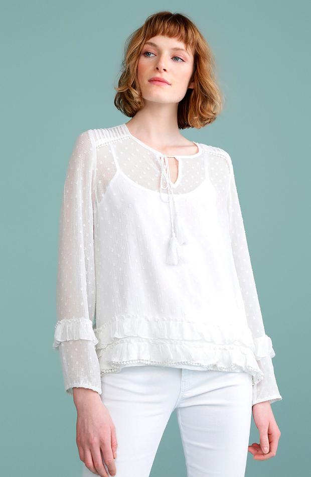blusa blanca plumeti microrelieve tintoretto transparencias prendas transparentes