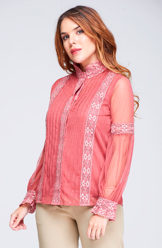 blusa de mujer tul encaje rosa niza transparencias prendas transparentes