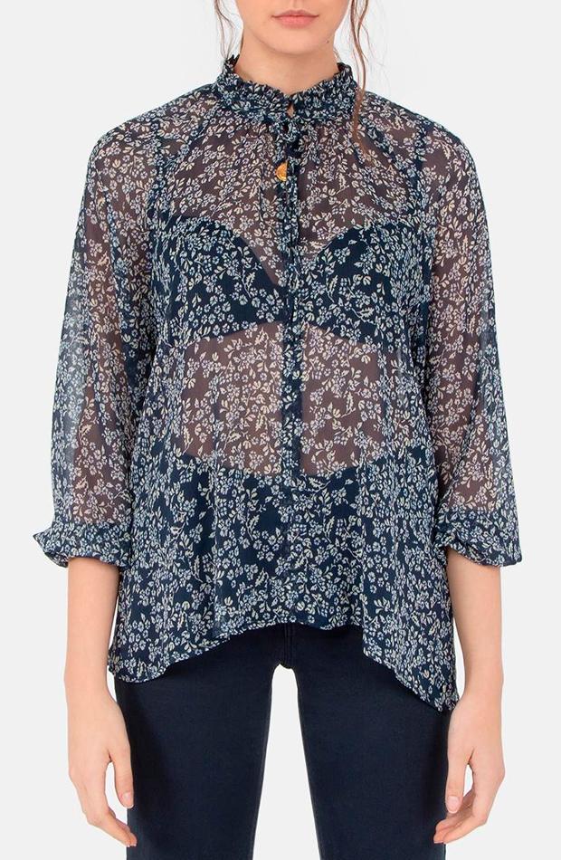 blusa estampado flores manga francesa brownie transparencias prendas transparentes