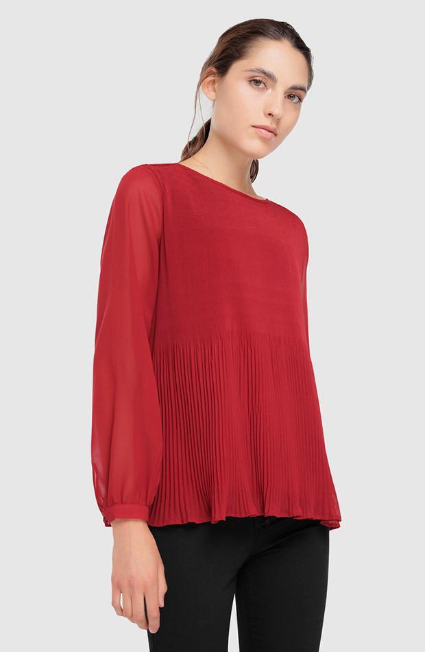 blusa roja plisada only transparencias prendas transparentes