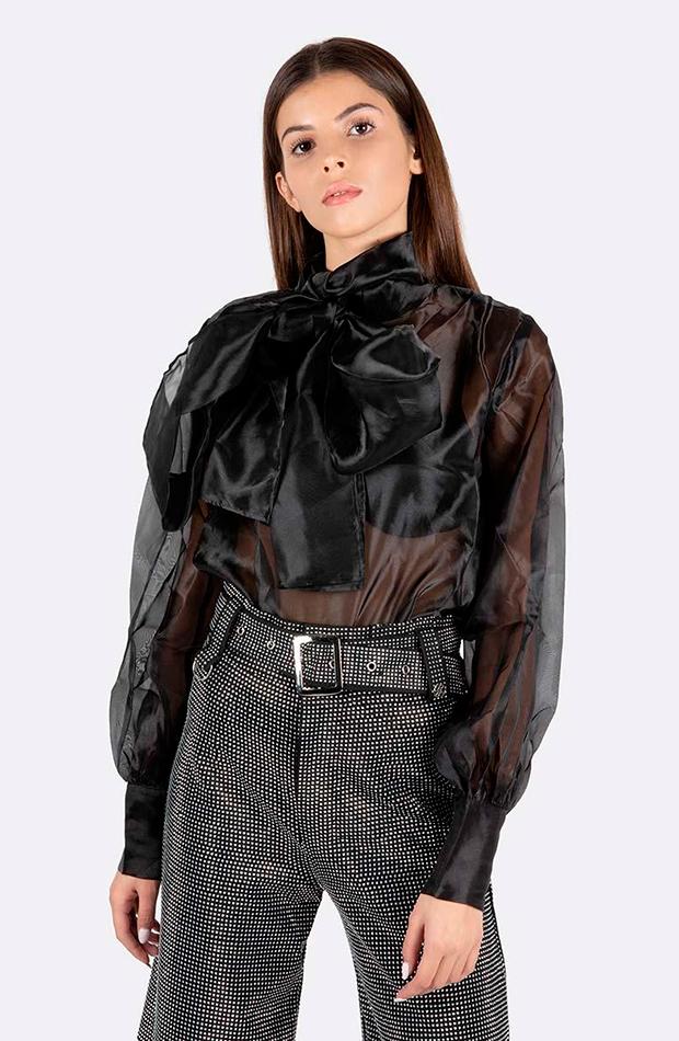 camisa mujer organza seda negra lazo maxi cuple transparencias prendas transparentes