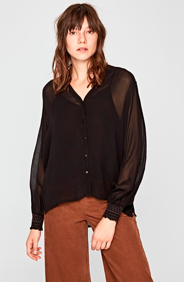 camisa negra pepe jeans transparencias prendas transparentes