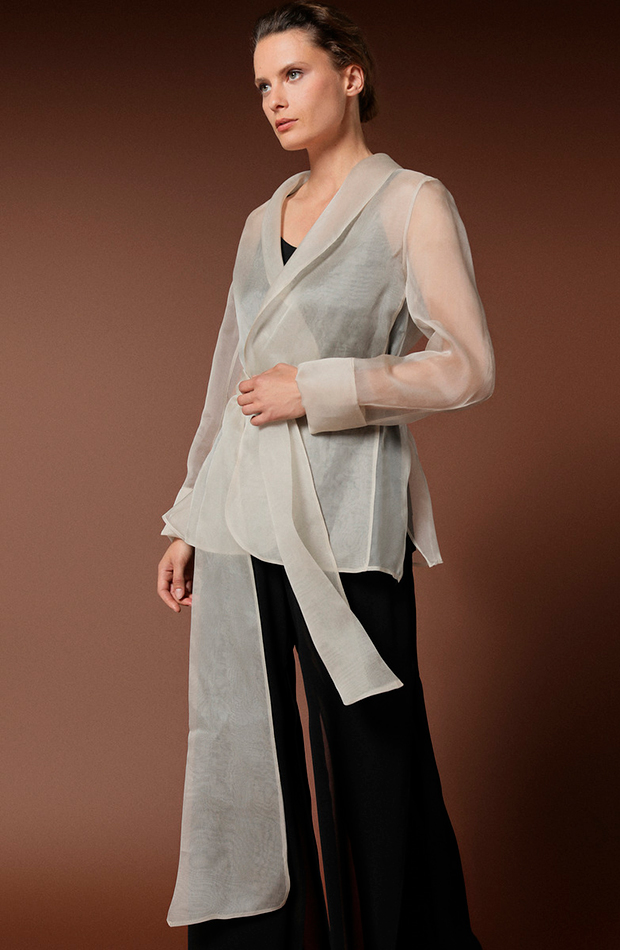 chaqueta organza beige woman fiesta transparencias prendas transparentes