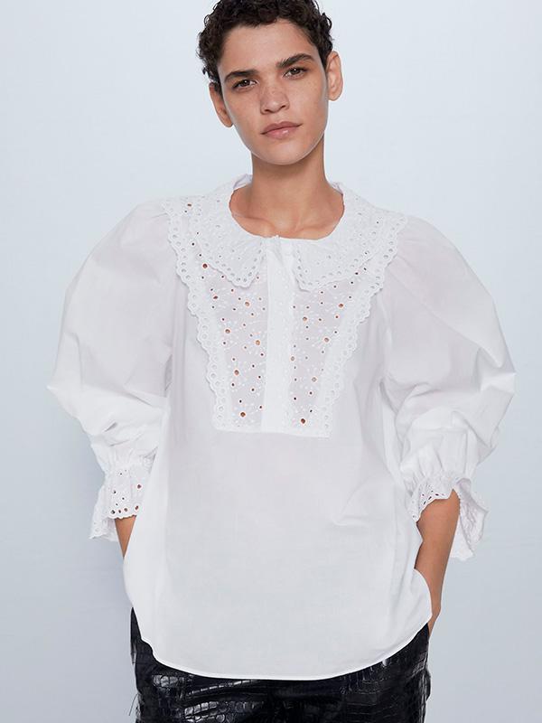 Camisa bordada de Zara con cuello bobo