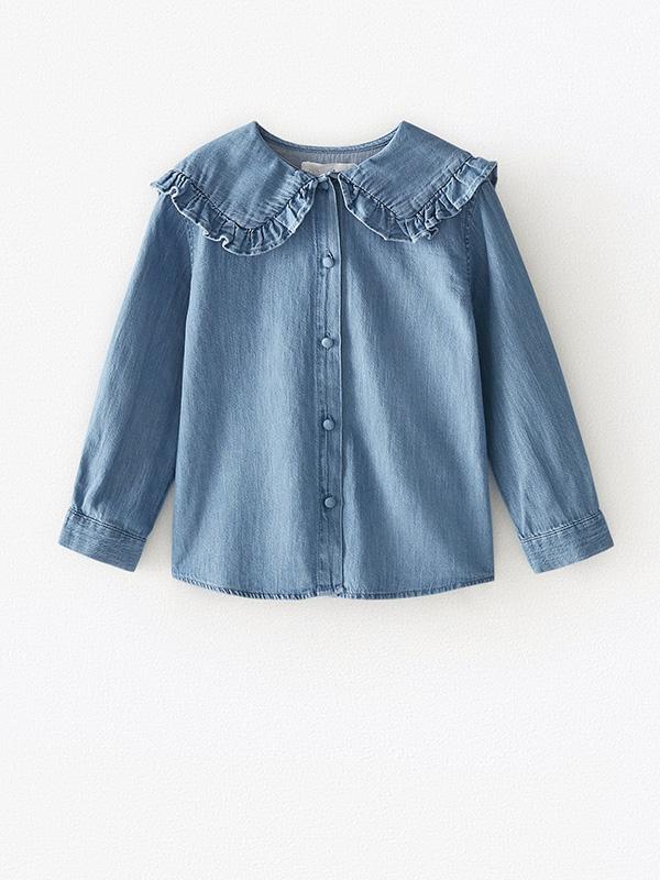 Blusa vaquera de Zara Kids con cuello bobo