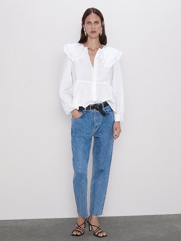 Blusa de popelín de Zara con cuello bobo