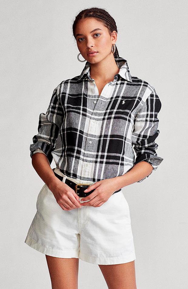 estampado de cuadros camisa de cuadros manga larga ralph lauren