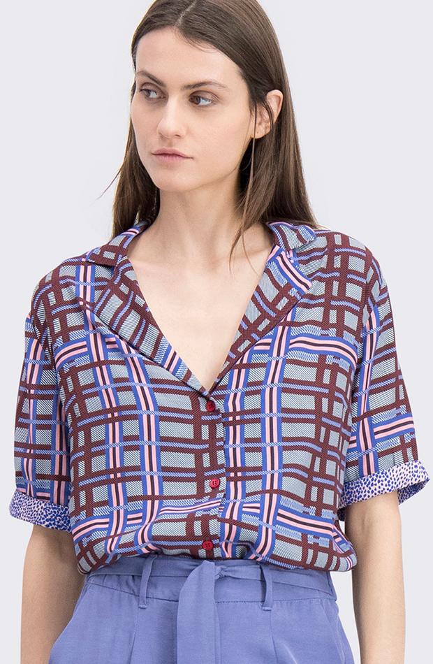 estampado de cuadros camisa mujer colores cks