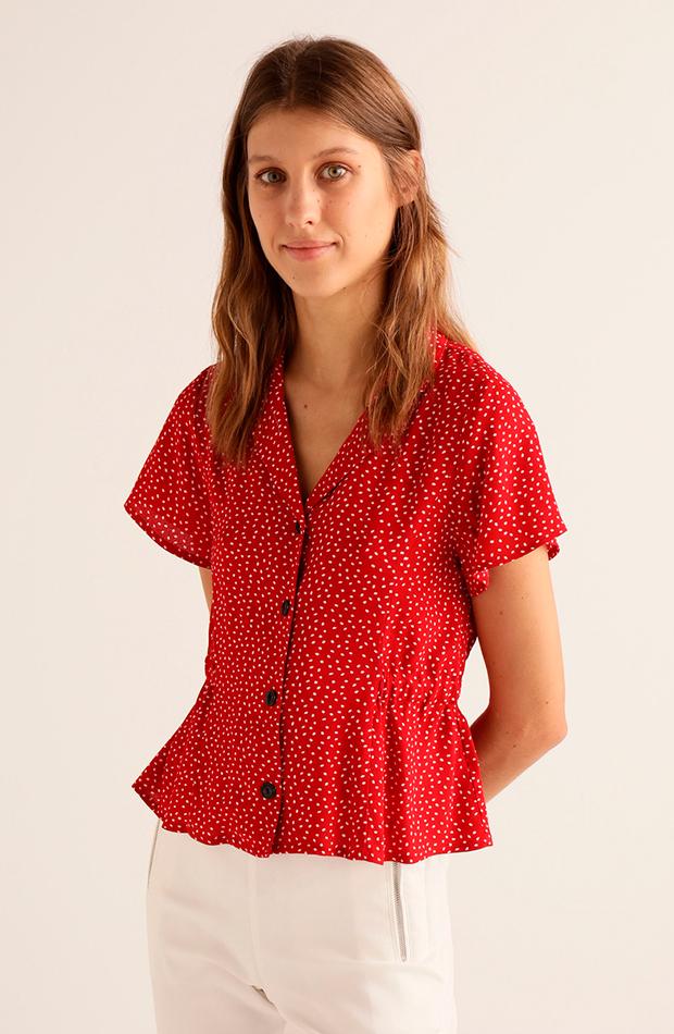 estampado de lunares blusa roja manga corta goma cintura easy wear