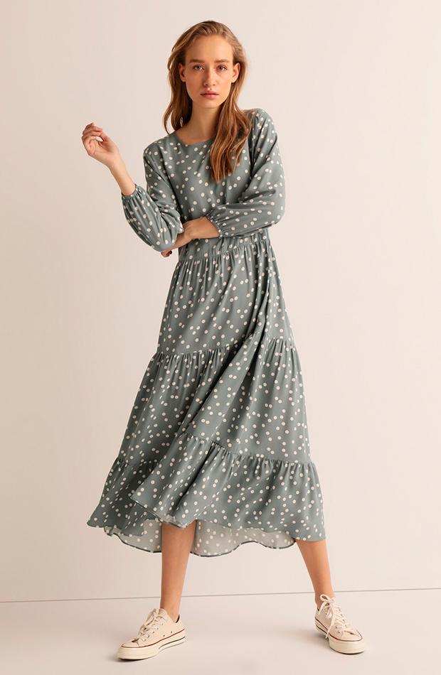 estampado de lunares vestido midi easy wear