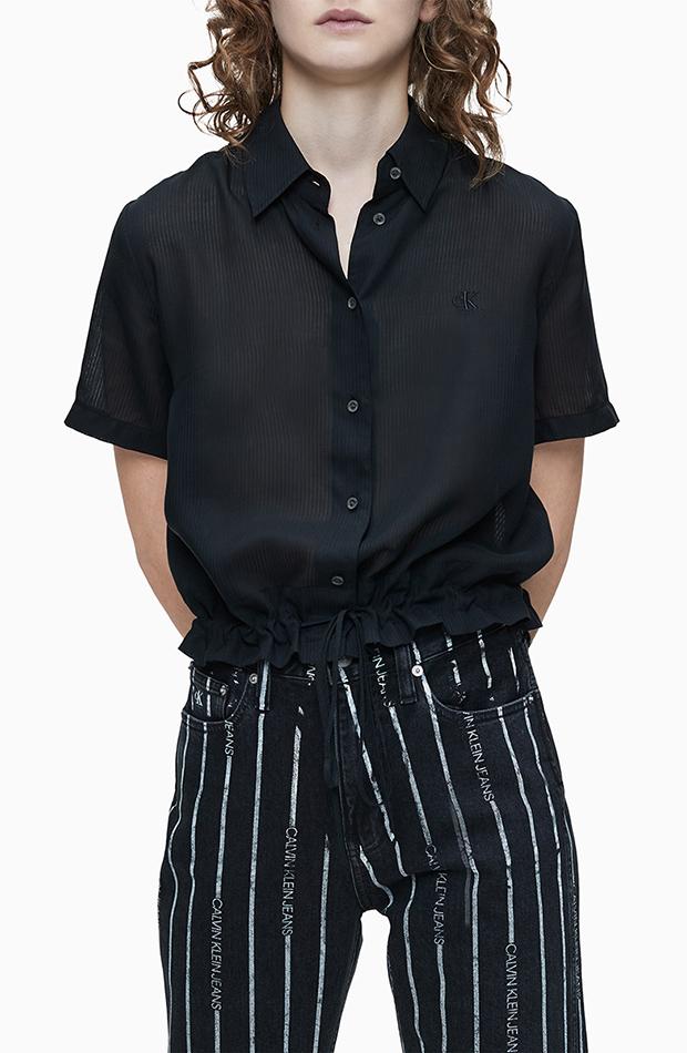 Camisa de tencel con manga corta Calvin Klein Jeans estilos de camisa